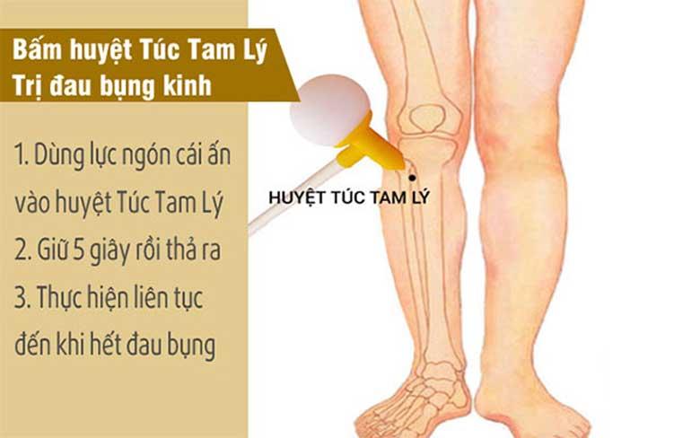 Bấm huyệt Túc Tam Lý trị đau bụng kinh