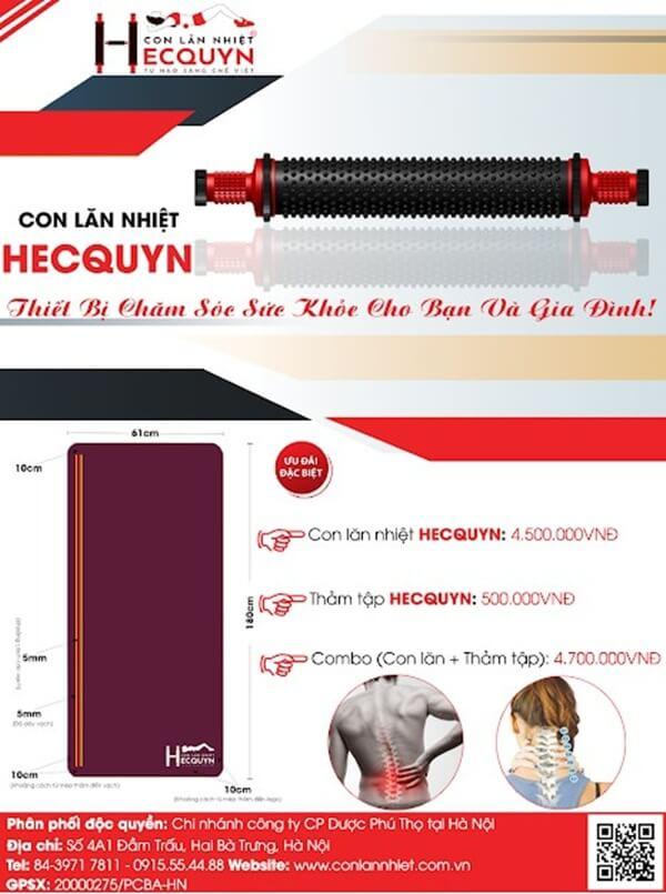 Chi nhánh Công ty Cổ phần Dược Phú Thọ tại Hà Nội là đơn vị phân phối độc quyền con lăn nhiệt Hecquyn