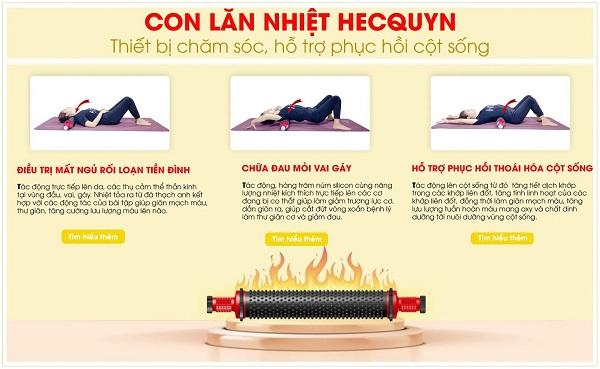 Thường xuyên thực hiện các bài tập cùng con lăn nhiệt Hecquyn giúp khắc phục các vấn đề về cột sống